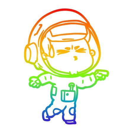 rainbow gradient line drawing of a cartoon stressed astronaut  イラスト・ベクター素材