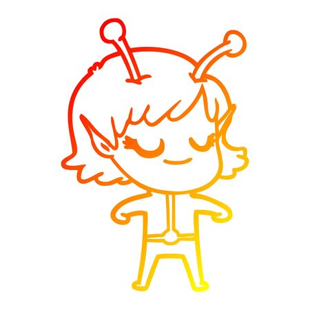 warm gradient line drawing of a smiling alien girl cartoon