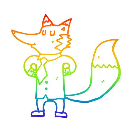 rainbow gradient line drawing of a cartoon fox businessman Foto de archivo - 129277240