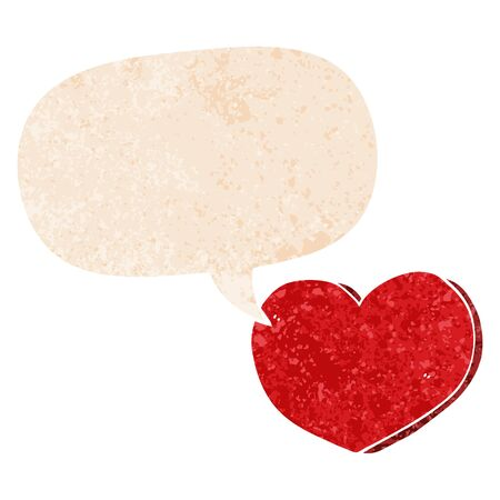 cartoon love heart with speech bubble in grunge distressed retro textured style Ilustração
