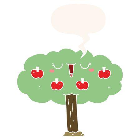 cartoon apple tree with speech bubble in retro style