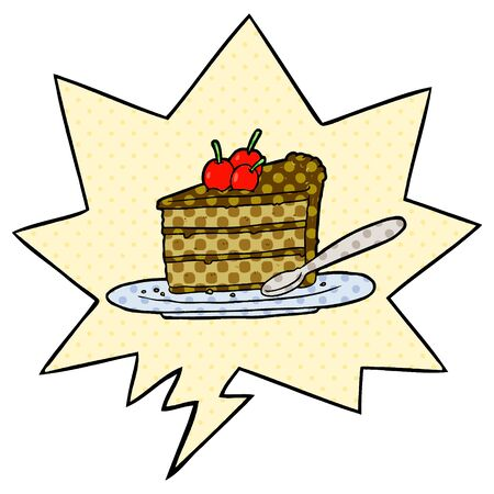 cartoon expensive slice of chocolate cake with speech bubble in comic book style