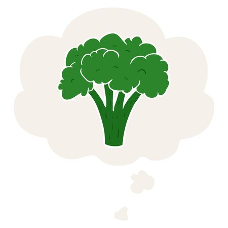 cartoon brocoli with thought bubble in retro style