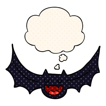 cartoon bat with thought bubble in comic book style Ilustracja
