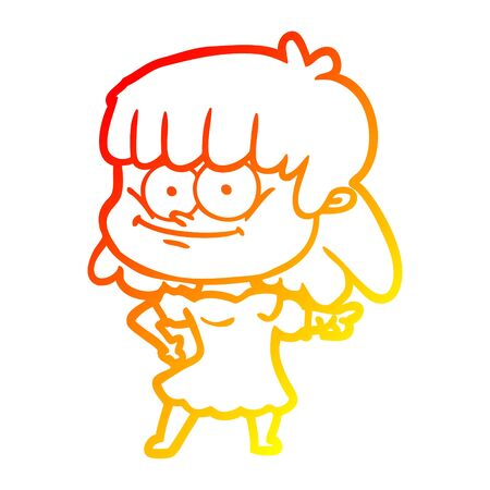 warm gradient line drawing of a cartoon smiling woman