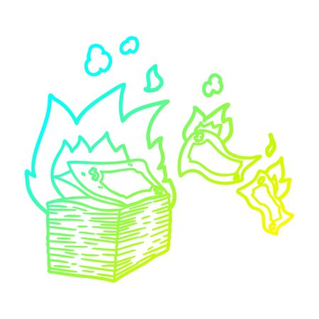 cold gradient line drawing of a burning money cartoon