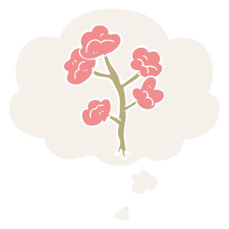 cartoon flowers with thought bubble in retro style