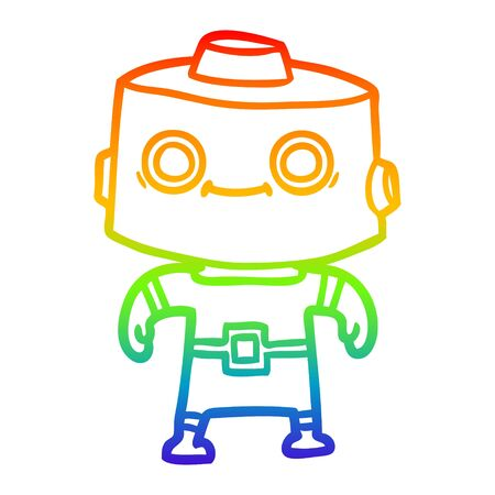 rainbow gradient line drawing of a cartoon robot  イラスト・ベクター素材