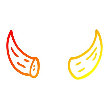 warm gradient line drawing of a cartoon horns 일러스트
