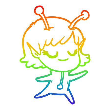rainbow gradient line drawing of a smiling alien girl cartoon Ilustracja