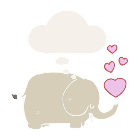 cute cartoon elephant with love hearts with thought bubble in retro style