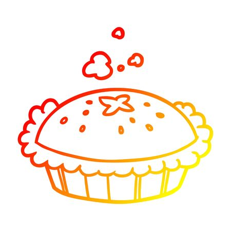 warm gradient line drawing of a hot pie fresh out of the oven