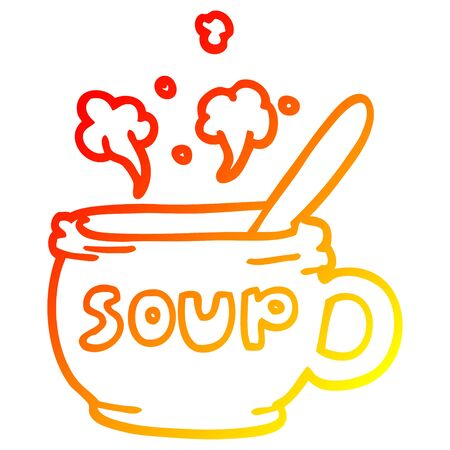 warm gradient line drawing of a cartoon of hot soup