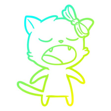 cold gradient line drawing of a cartoon meowing cat