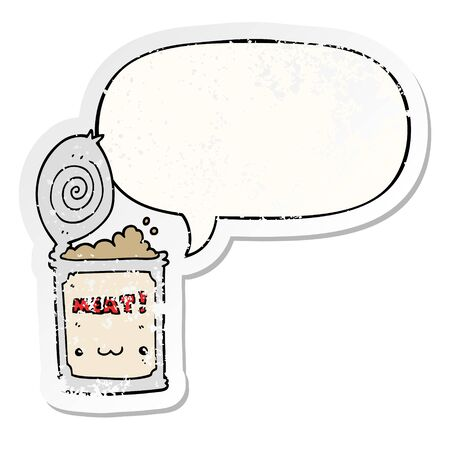 cartoon canned food with speech bubble distressed distressed old sticker 向量圖像