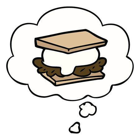 smore cartoon with thought bubble 일러스트