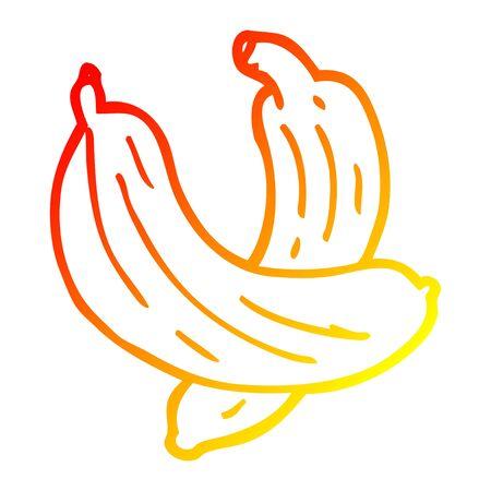 warm gradient line drawing of a cartoon pair of  bananas