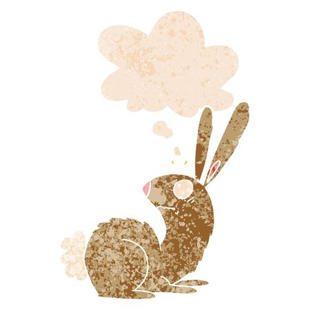 cartoon startled bunny rabbit with thought bubble in grunge distressed retro textured style