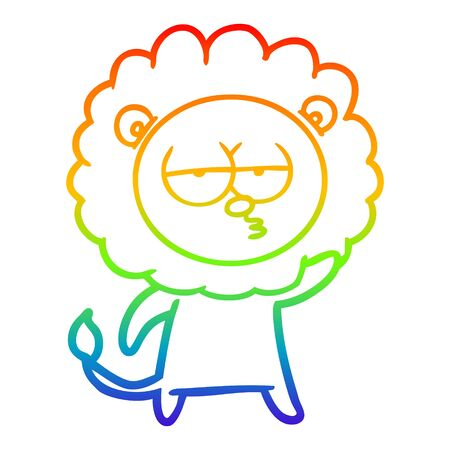 rainbow gradient line drawing of a cartoon bored lion waving