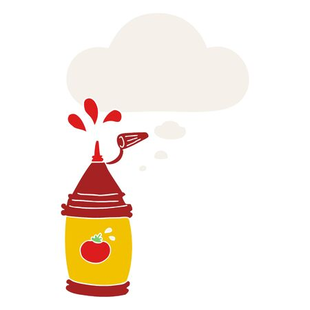 cartoon ketchup bottle with thought bubble in retro style Иллюстрация