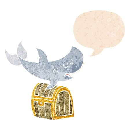 cartoon shark swimming over treasure chest with speech bubble in grunge distressed retro textured style