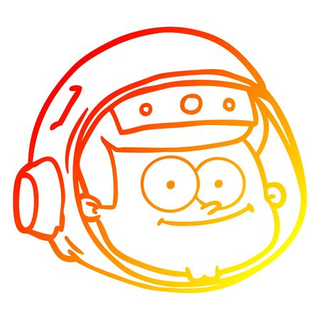 warm gradient line drawing of a cartoon astronaut face Stock Illustratie