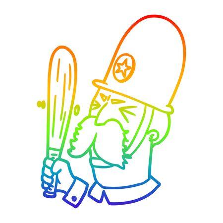 rainbow gradient line drawing of a cartoon policeman waving baton Illusztráció