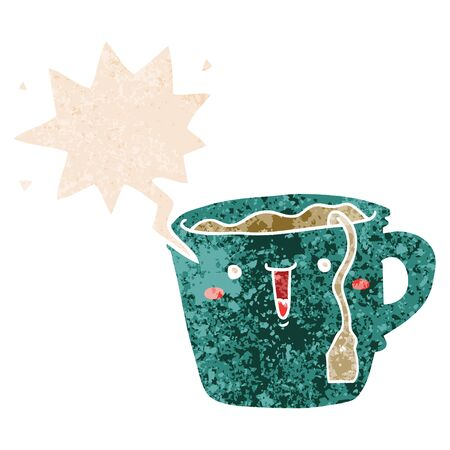 cute cartoon coffee cup with speech bubble in grunge distressed retro textured style