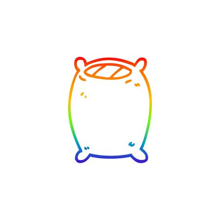 rainbow gradient line drawing of a cartoon comfy pillow