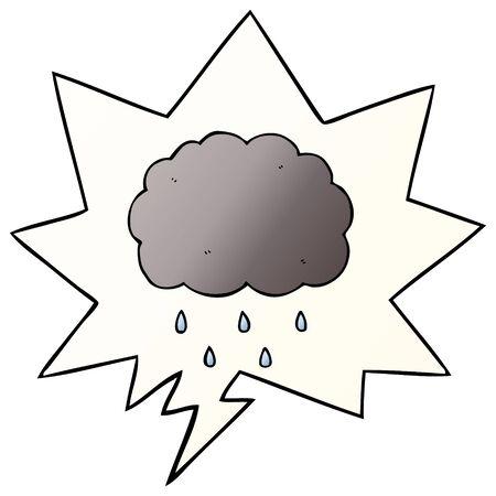 cartoon cloud raining with speech bubble in smooth gradient style Banco de Imagens - 129277531