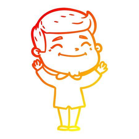 warm gradient line drawing of a happy cartoon man