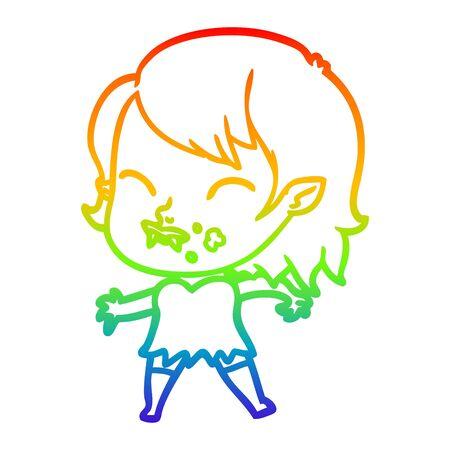 rainbow gradient line drawing of a cartoon vampire girl with blood on cheek 일러스트