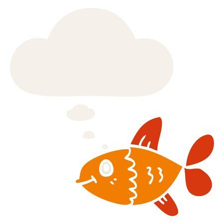 cartoon fish with thought bubble in retro style Иллюстрация