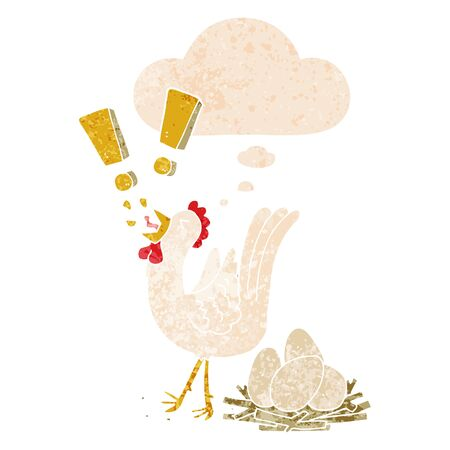 cartoon chicken laying egg with thought bubble in grunge distressed retro textured style