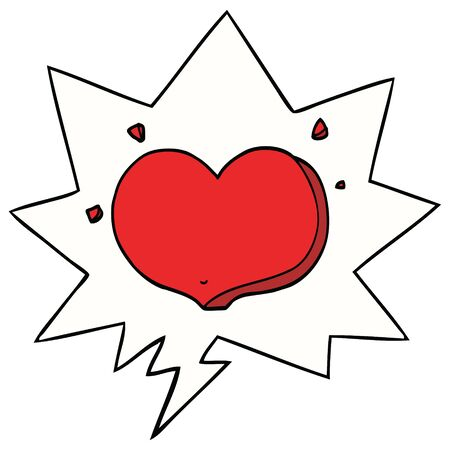 cartoon love heart with speech bubble