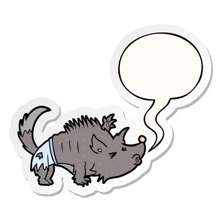 cartoon halloween werewolf with speech bubble sticker 向量圖像