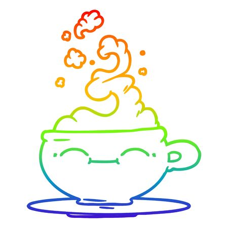 rainbow gradient line drawing of a cartoon hot cup of coffee