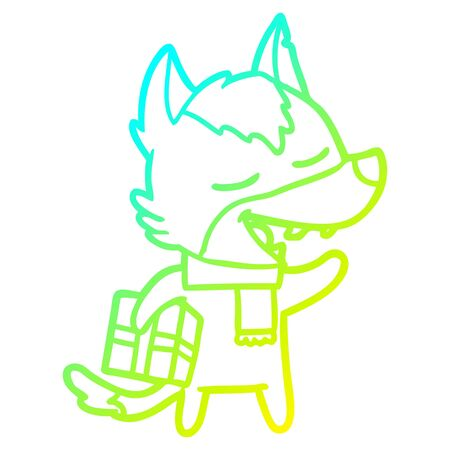 cold gradient line drawing of a cartoon wolf with christmas present laughing