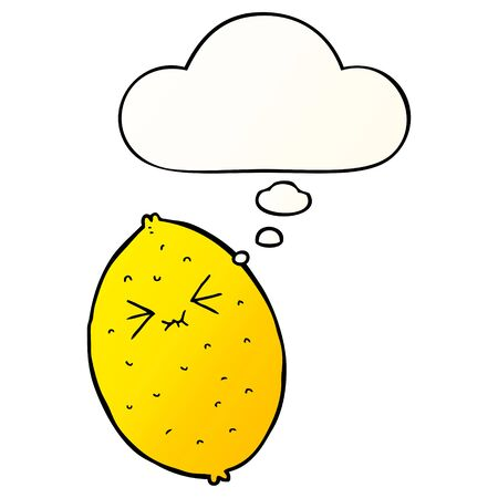 cartoon bitter lemon with thought bubble in smooth gradient style