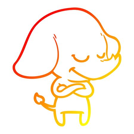 warm gradient line drawing of a cartoon smiling elephant