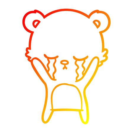 warm gradient line drawing of a crying cartoon polarbear