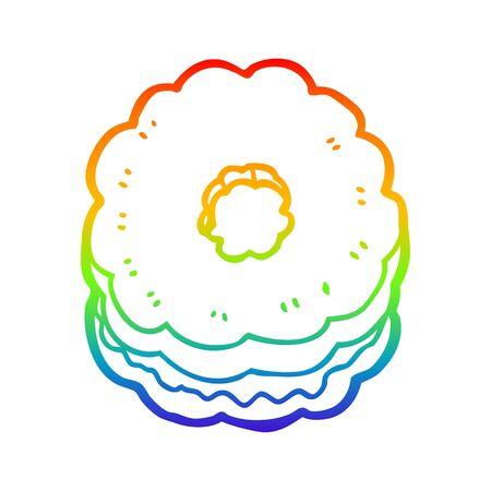 rainbow gradient line drawing of a cartoon biscuit Иллюстрация