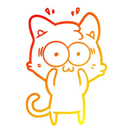 warm gradient line drawing of a cartoon surprised cat Illustration
