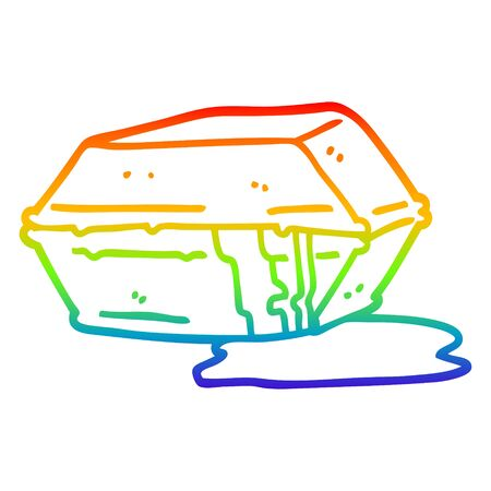 rainbow gradient line drawing of a cartoon greasy take out food