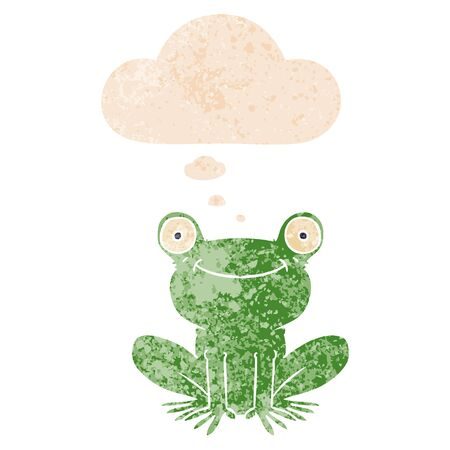 cartoon frog with thought bubble in grunge distressed retro textured style Illustration