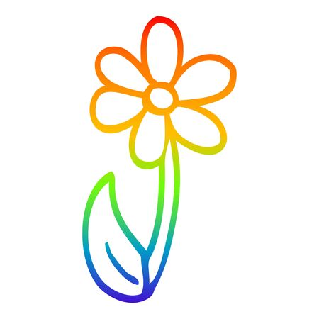 rainbow gradient line drawing of a cartoon single flower