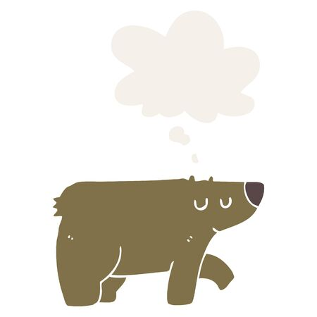 cartoon bear with thought bubble in retro style