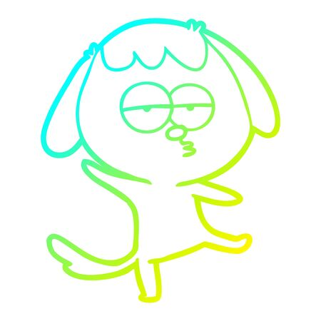 cold gradient line drawing of a cartoon bored dog Ilustrace