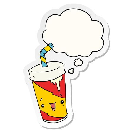 cartoon soda cup with thought bubble as a printed sticker