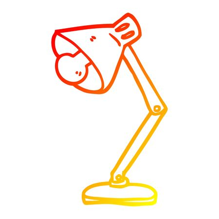 warm gradient line drawing of a cartoon angled desk lamp